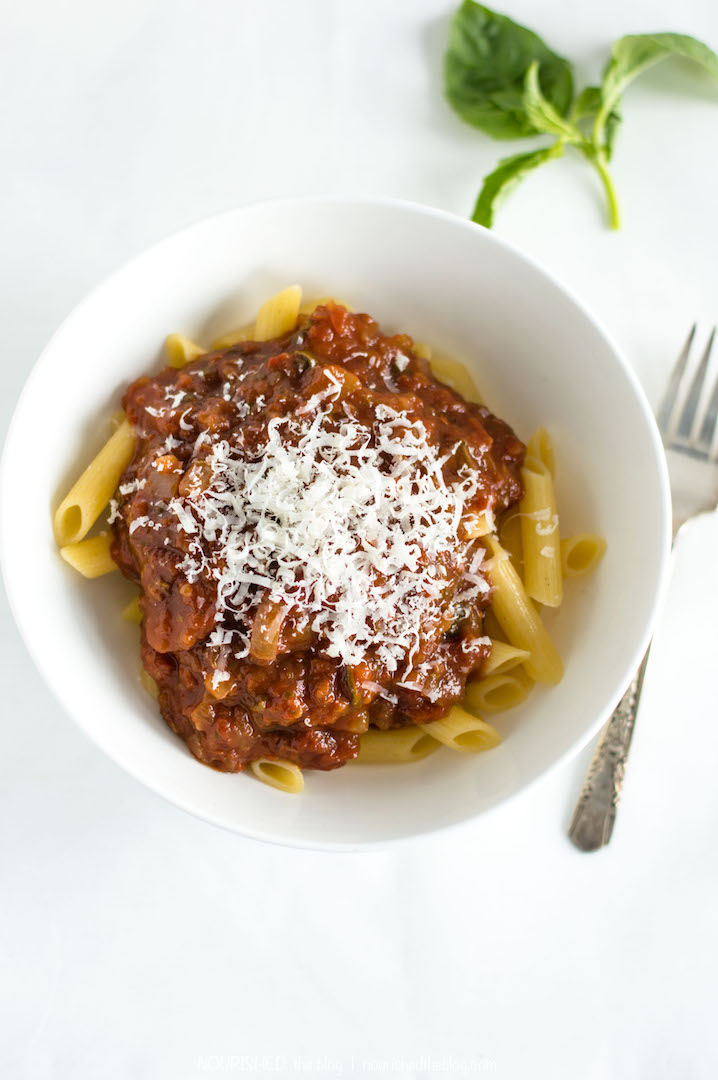 Healthy tomato basil pasta sauce from scratch nourished for How to make healthy desserts from scratch