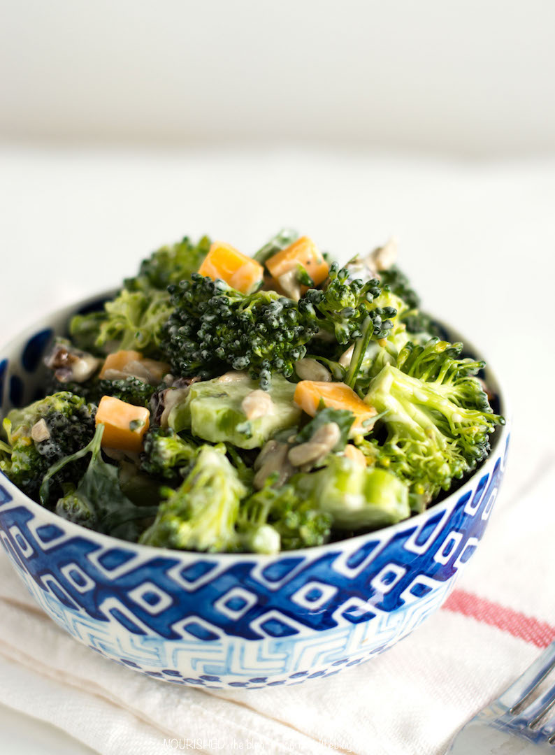 Easy Vegetarian Broccoli Salad with Cheddar Cheese | www.nourishedtheblog.com | A gluten free and vegetarian friendly lunch recipe that can be made in less than 15 minutes.