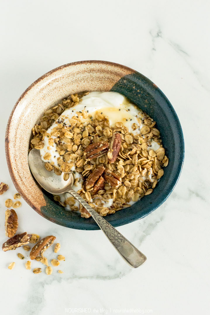 Maple Pecan Granola | www.nourishedtheblog.com | A simple Maple Pecan Granola recipe made gluten free and vegan with only 10 ingredients.