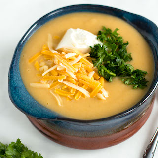Lightened Up Creamy Potato Soup with Cauliflower