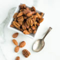Quick Maple Candied Pecans and Almonds | nourishedtheblog.com | feature image