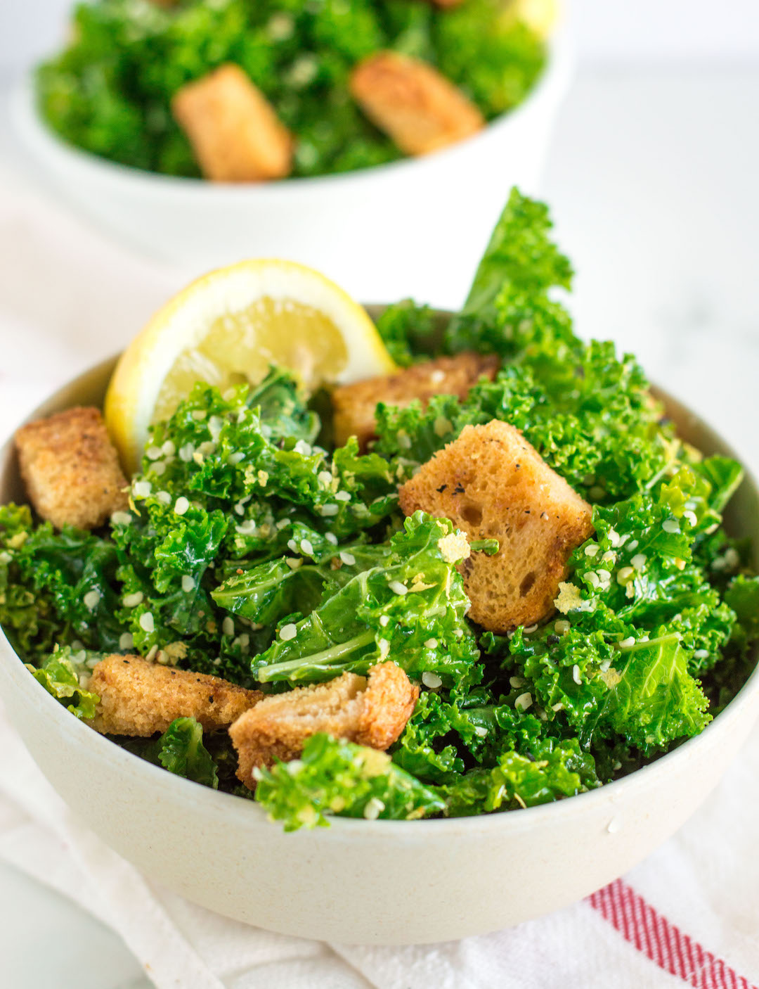 Vegan Kale Caesar Salad with Homemade Croutons - NOURISHED. the blog