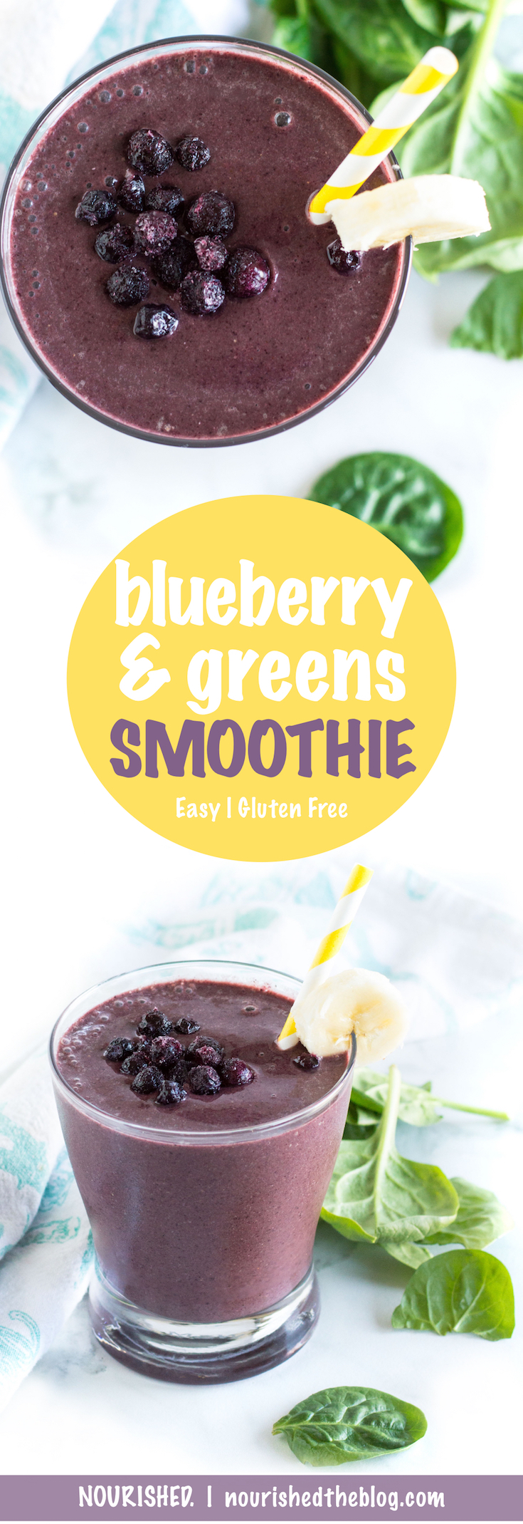 Superfood Smoothie | Blueberry and Greens Smoothie | recipe | gluten free, vegetarian, easy to make | green smoothie | And you can't even taste the spinach!