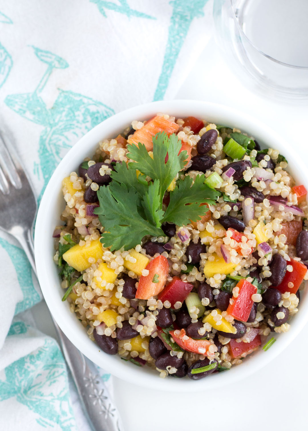 Healthy Quinoa Salad with Black Beans and Mango