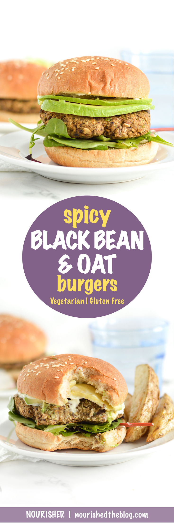 These Gluten Free Spicy Black Bean Oat Burgers are made oh-so easy with oats, canned black beans, garlic, onion, cumin and a little kick of heat. The perfect gluten free and vegetarian option for your next Meatless Monday!