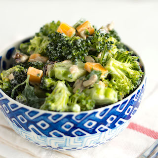 Easy Vegetarian Broccoli Salad with Cheddar Cheese