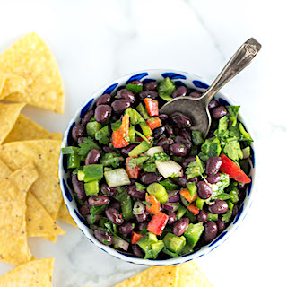 Healthy Black Bean Salsa Dip with Cilantro and Lime