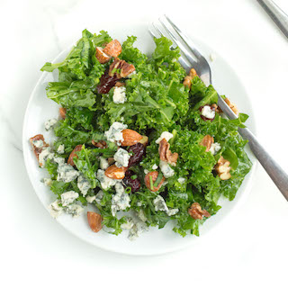 Lemony Kale Salad with Cranberries and Gorgonzola