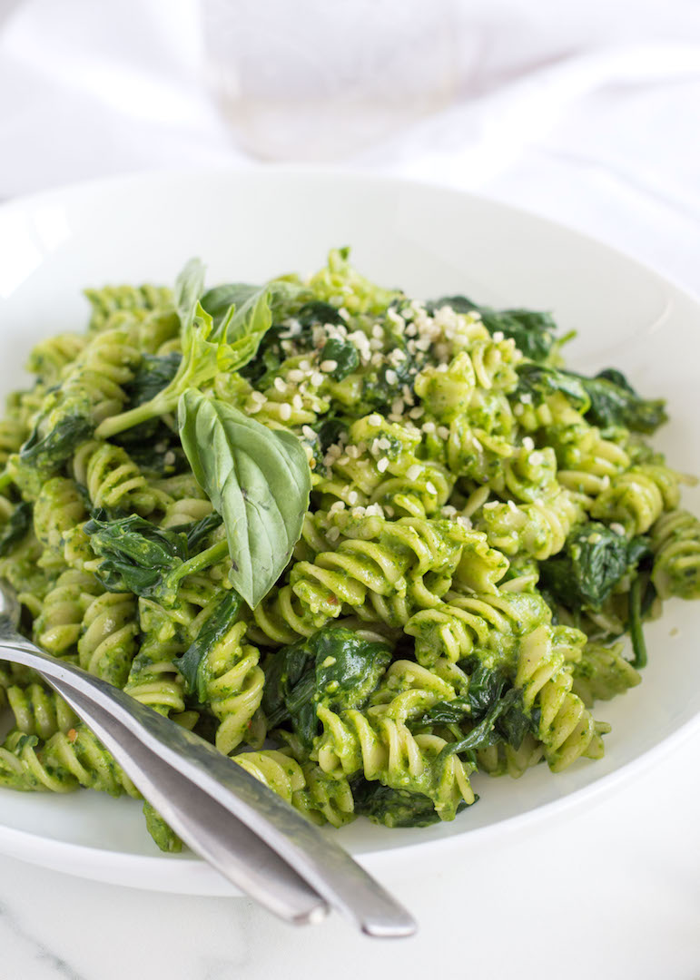 Spinach Pesto Pasta with Basil and Goat Cheese - nourished.