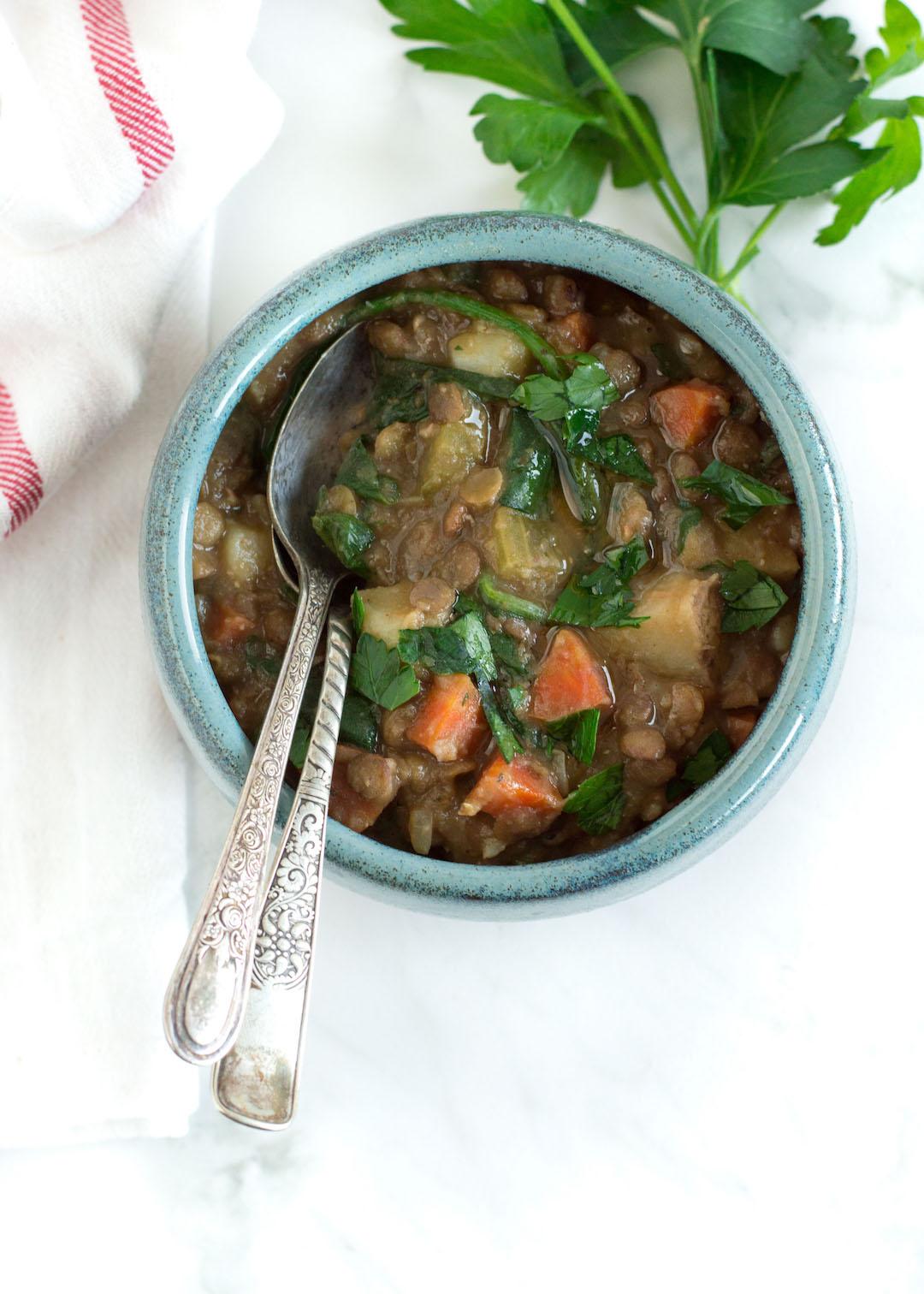 Vegan Warming Lentil Stew   vegetable stew   gluten free, vegan   easy to make   healthy soup   dinner, make ahead meal   nourishedtheblog.com  