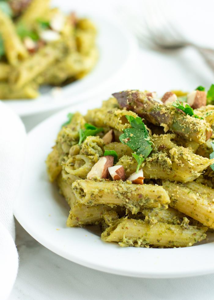 Almond Kale Pesto Pasta with Asparagus