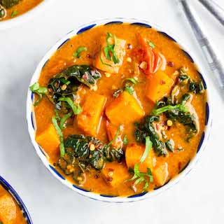 Spicy Sweet Potato Peanut Soup with Kale