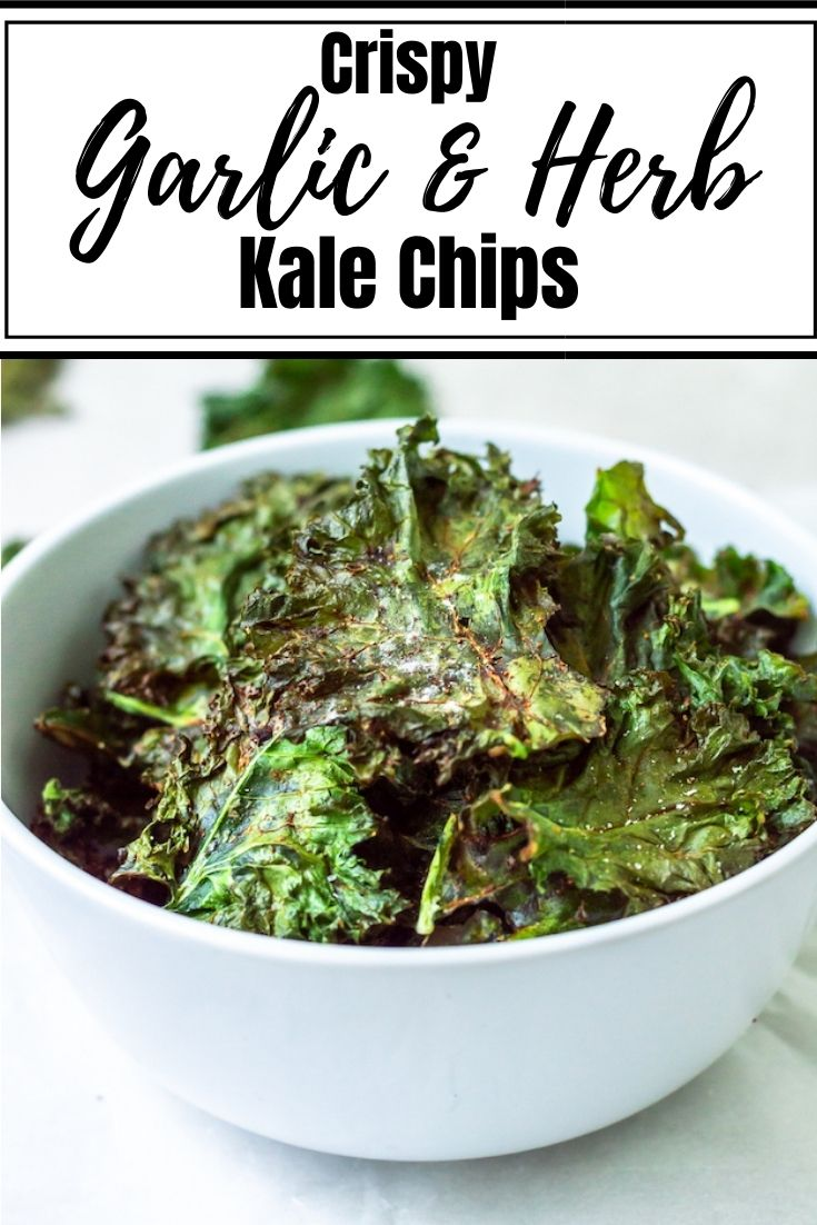 Crispy Garlic & Herb Kale Chips are the perfect snack. This oven-baked kale chip recipe uses a simple, homemade garlic and herb spice blend, curly kale and avocado oil for an easy, DIY veggie chip that actually tastes good!  For more PCOS-friendly recipes, click here.